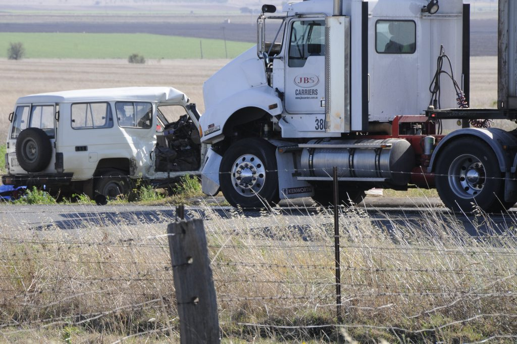 Two people died in two vehicle crash on Cecil Plains Road, Aubigny. Photo: Bev Lacey / The Chronicle