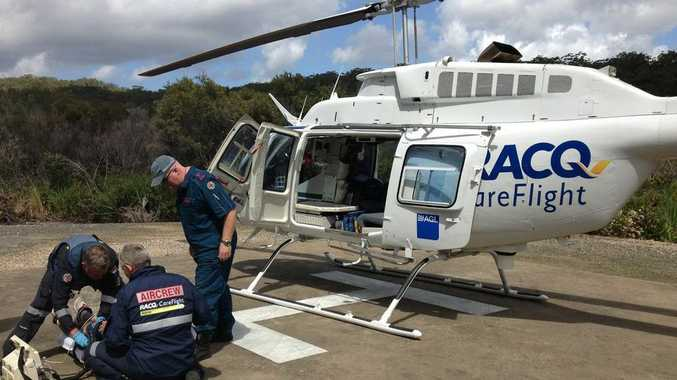 An RACQ CareFlight Rescue crew has flown a 22-year-old resort worker suffering chest pain to Hervey Bay Hospital.