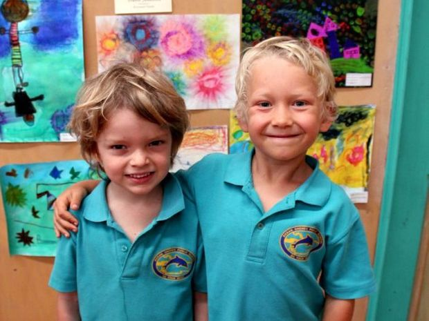 ART CRITICS: Ocean Shores Public School kindergarten students are Jet Thornton and Samadhi Simmons. check out the exhibition.