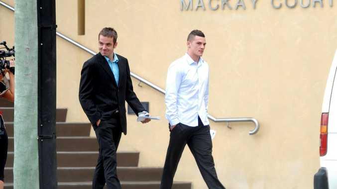 Michael Sheedy and Jordan David Grayston leave court.