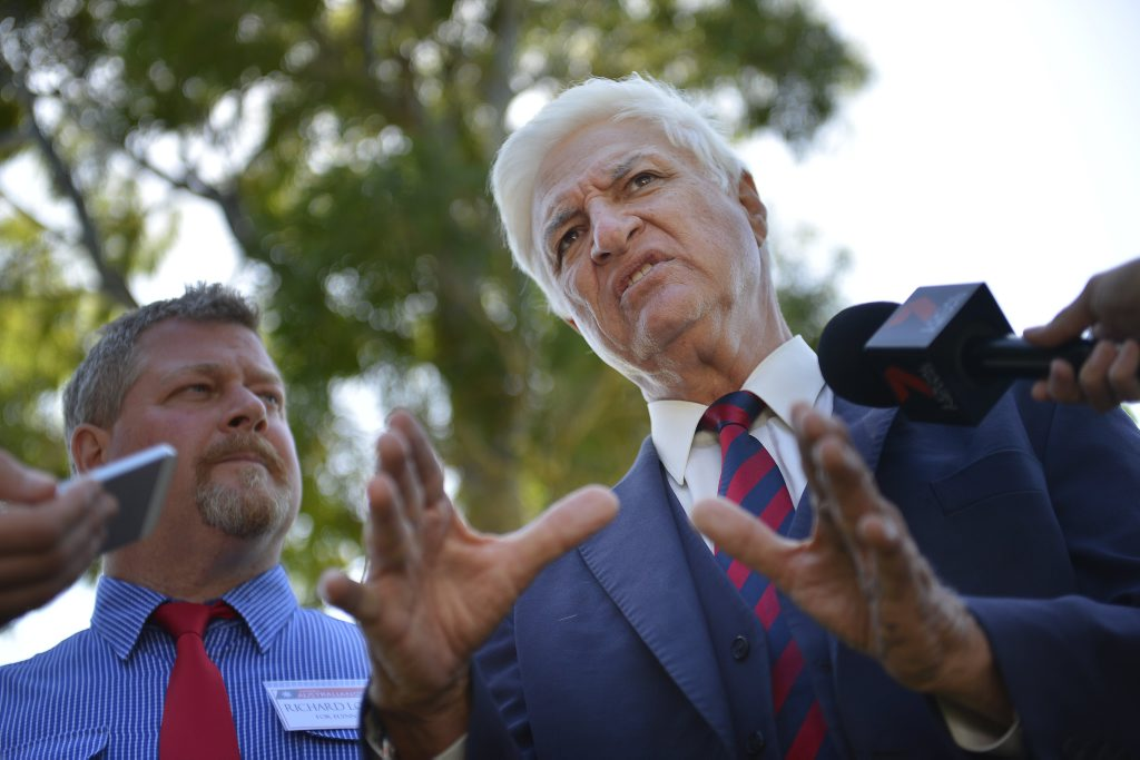 Richard Love and Bob Katter MP during the Katter Australian Party media address at Spinnaker Park, Gladstone.