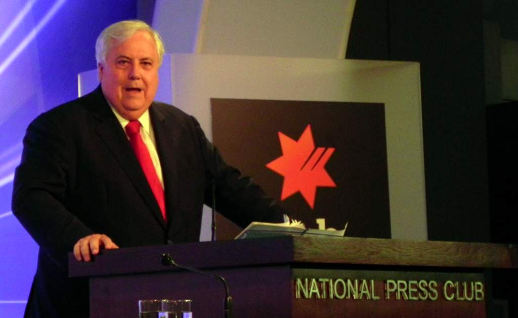 Clive Palmer addresses the National Press Club.