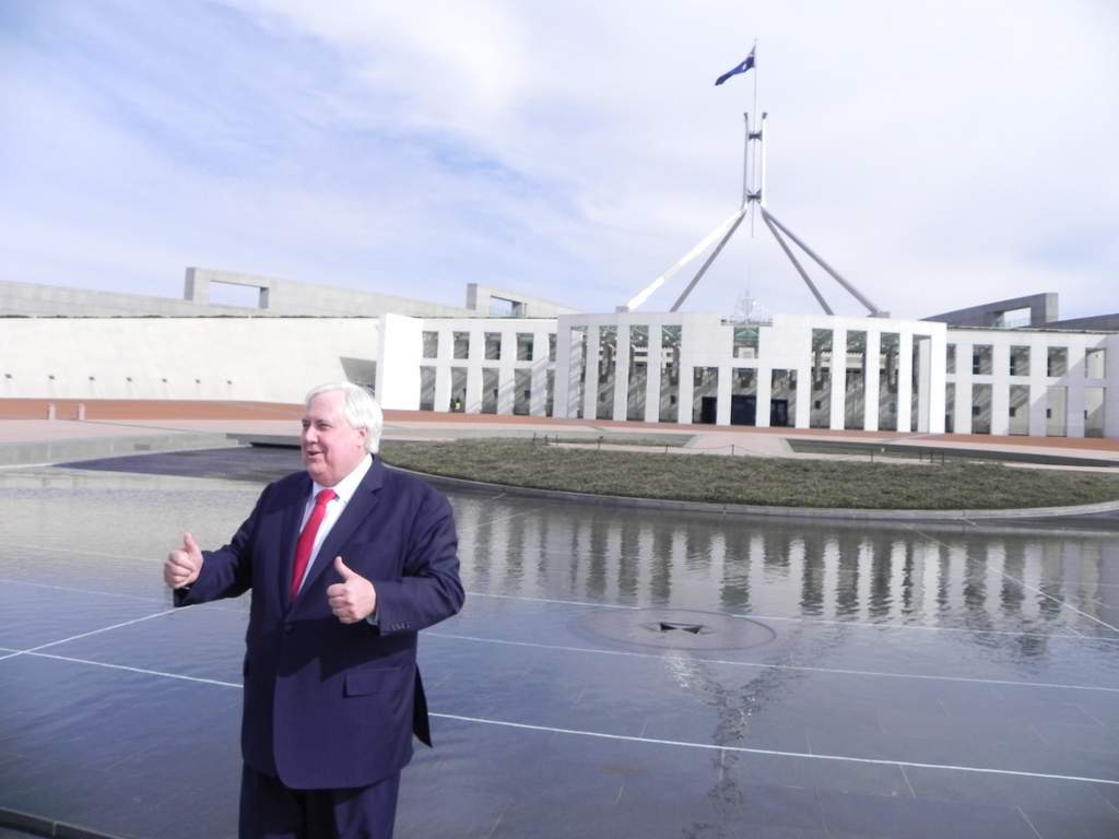 Clive Palmer - has been more outside of Parliament than in it during first week.