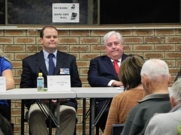 Clive Palmer at a candidates night with rival Ted O'Brien.