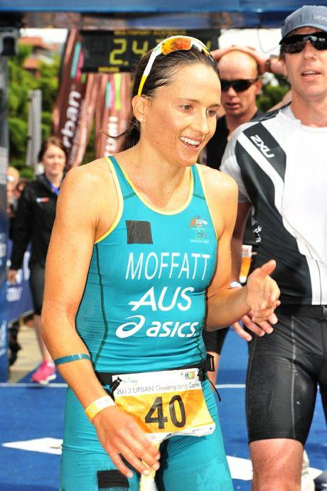 Woolgoolga product Emma Moffatt after finishing the URBAN Geelong long course event earlier in 2013.