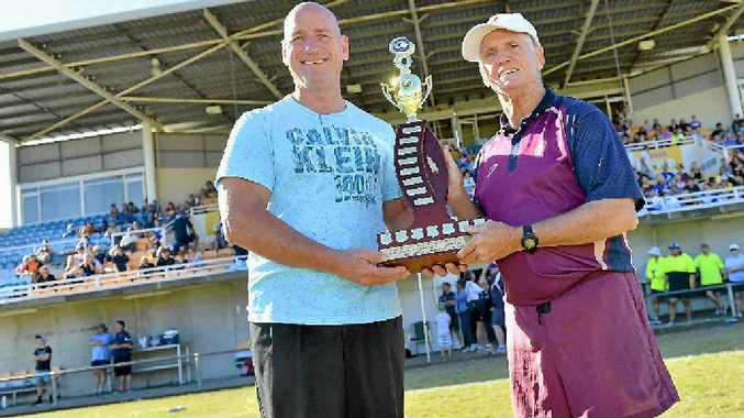 BIG WIN: The Colin and Heather Cogill Referees Person of the Year Jeffery Hebbard (right) with Chris Trevor.