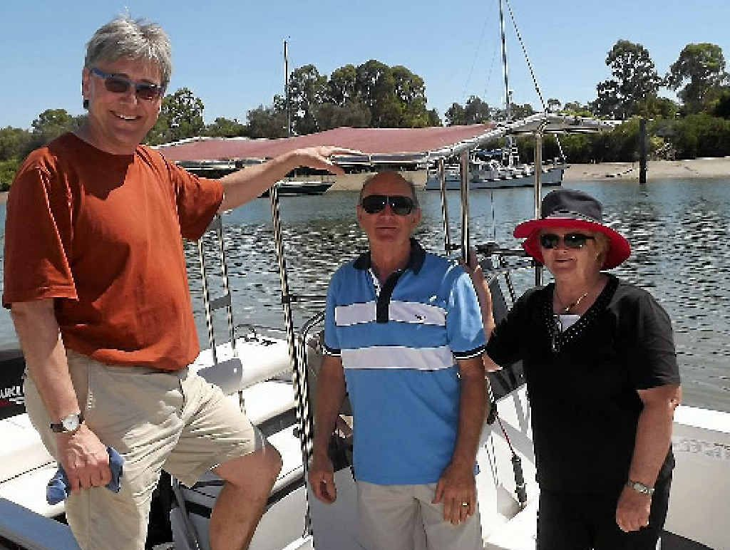 WELCOME NEWS: Marine scientist Callum Roberts with Geoff Bonney and Gladstone Conservation Council's Cheryl Watson.
