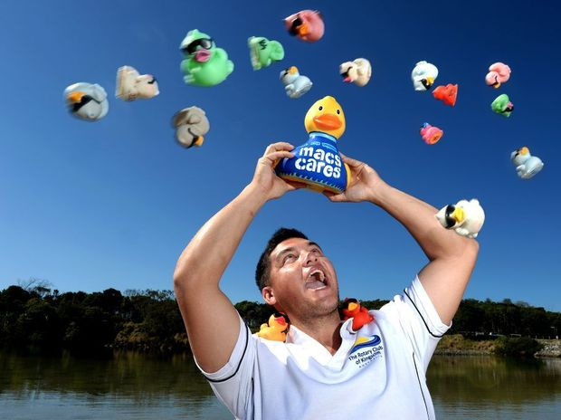 Montage of Nathan Williams, at Cudgen Creek, for the charity duck race.