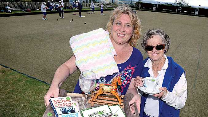 Lismore Heights Bowling Club Fundraising Committee chairperson Karen Irvin, left, and Lismore Heights Women's Bowlers president Annette O'Connor, welcome the community to their monster Garage Sale on Saturday.
