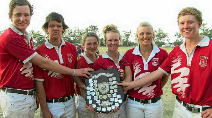 JUNIOR WIN: The Cunningham junior team which won the junior finals at the Queensland Polocrosse State Club Championships in Chinchilla at the weekend included (from left) Anthony O'Leary, Tim Forster, Sally Gilbert, Carly Cooper, Maddie Burton, and Dougal Strahley.