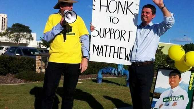 Nationals Richmond candidate Matthew Fraser campaigns with former MP Larry Anthony in Tweed Heads South.