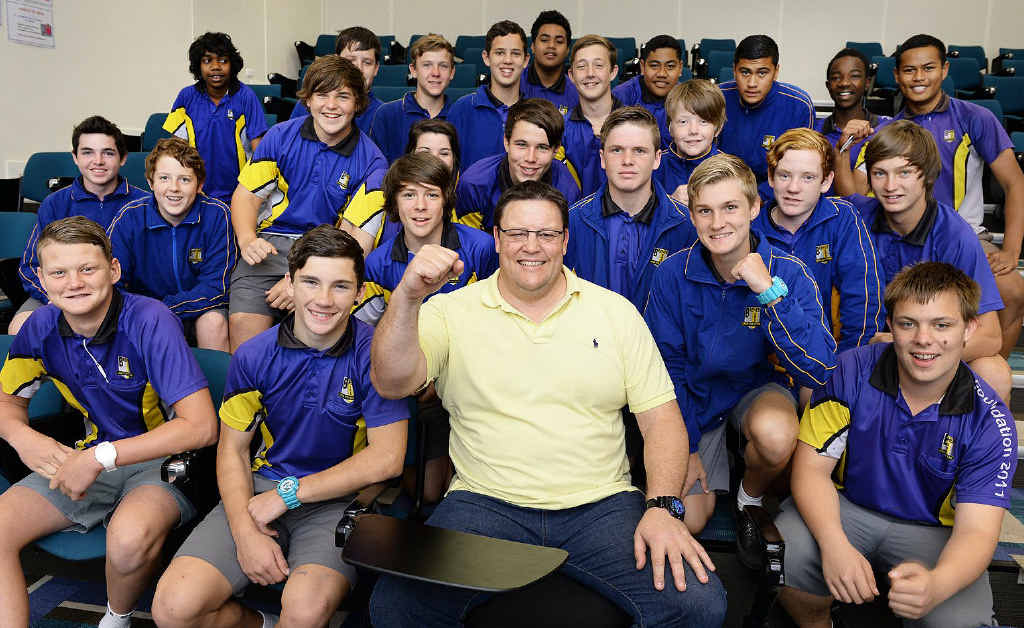 PUMPED: League legend Glenn Lazarus chatted to students involved in a rugby league program at Bremer State High School on Tuesday.