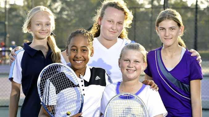 TENNIS TALENTS: Players trial for Ipswich's 13 Girls Perrett Shield team during the recent training day at Grammar Arms Park at Brassall.