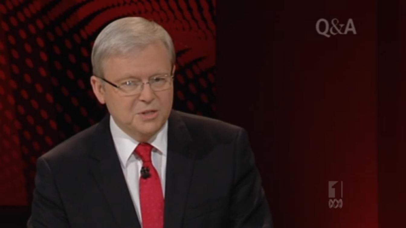 Still of Prime Minister Kevin Rudd on ABC TV's Q&A; program.
