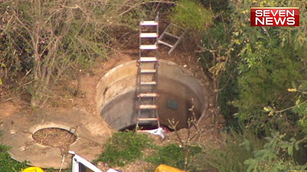 A septic tank where a man died in Brisbane's southwest. Photo: Seven News
