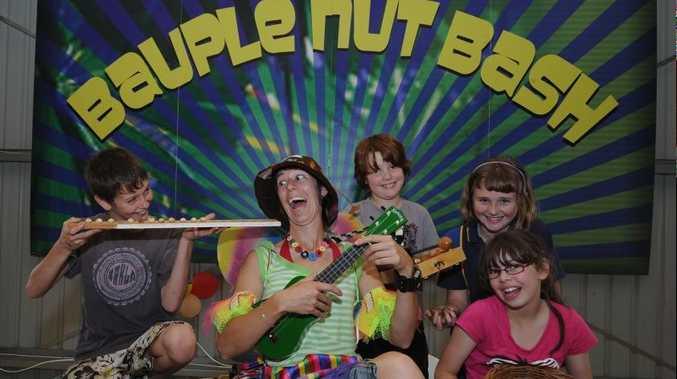 Fairy Peta Pumpkin , Marshall Booth, Georgia-Rose Smaldon, Paige Phali and Hamish Brischke ahead of last year's Bauple Nut Bash.