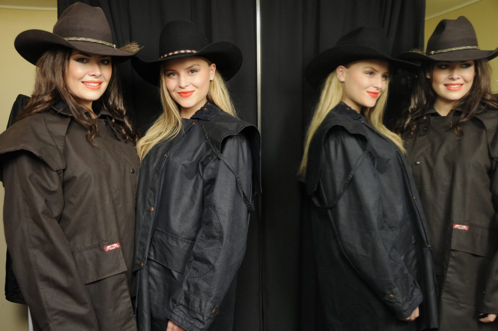 Models Jehsika Peacock and Emma Florence take a few deep breaths before taking to the catwalk at the Heritage Bank Ag Show.