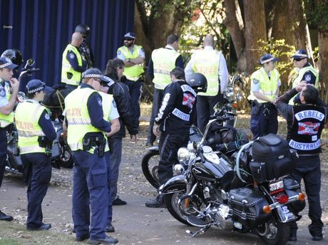 Police intercept members of the Rebels outlaw motorcycle gang at the top of the Toowoomba Range.