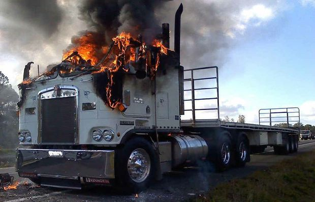 SEMI BLAZE: Clayton's Towing posted this photo on Facebook of a truck fire on the Bruce Hwy at Glasshouse Mountains.