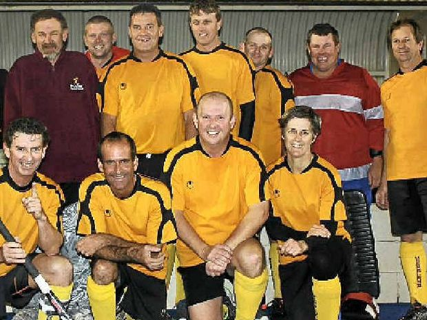 Warwick masters (front, from left) Dion Phillips, Steve Farrell, Rob Eastwell, Gary Millard, Toni Cox, (back) Phil Rolfe, Matt Hagenbach, Tony Duncan (GK), Jamie Reid, Peter Rutledge, Don Costigan, Robert Murphy, Alan Balfour (GK) and Greg McDonald will play in tonight's hockey grand final.