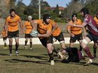 Goondiwindi forward Mick Maher looks for support during his team's round 18 Risdon Cup win over Toowoomba Bears.