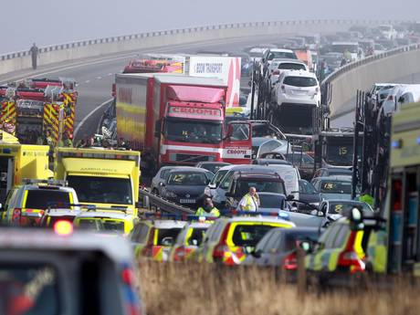 The scene on the London bound carriageway of the Sheppey Bridge Crossing near Sheerness in Kent following a multi vehicle collision earlier this morning