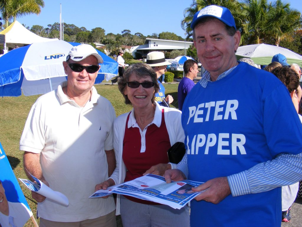 Peter Slipper meets the voters this morning at Sippy Downs.