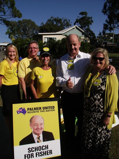 Fisher Palmer United Party candidate Bill Schoch at Mooloolaba State School on polling day.