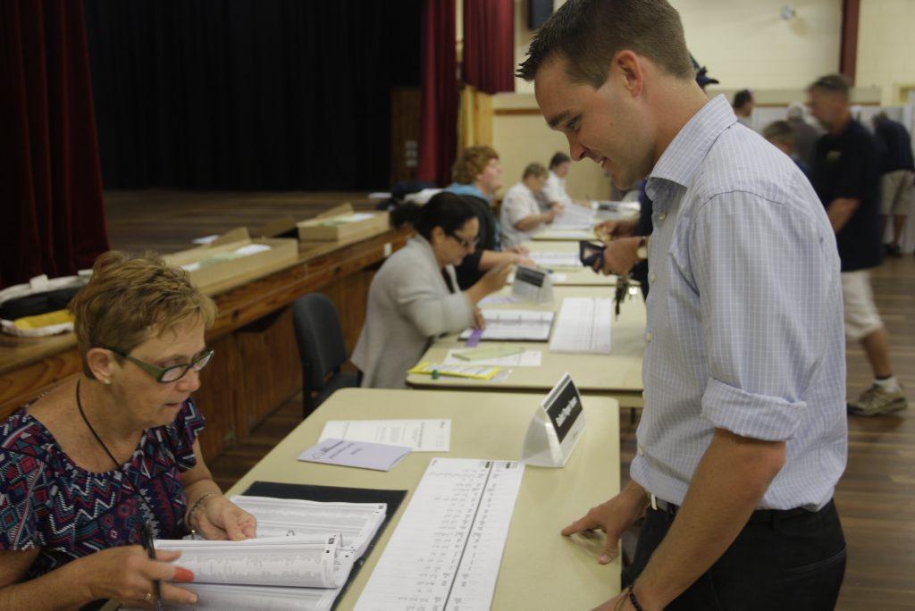 Wyatt Roy votes at the Bribie Island Recreational Hall on Saturday Photo Natasha Christian / Caboolture news