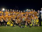 Goondiwindi celebrates its 2013 Risdon Cup victory over Toowoomba Bears at Clive Berghofer Stadium.
