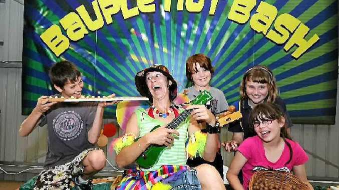 NUTS ABOUT BAUPLE: Fairy Peta Pumpkin, Marshall Booth, Georgia-Rose Smaldon, Paige Phali and Hamish Brischke enjoyed the fun of last year's Bauple Nut Bash.