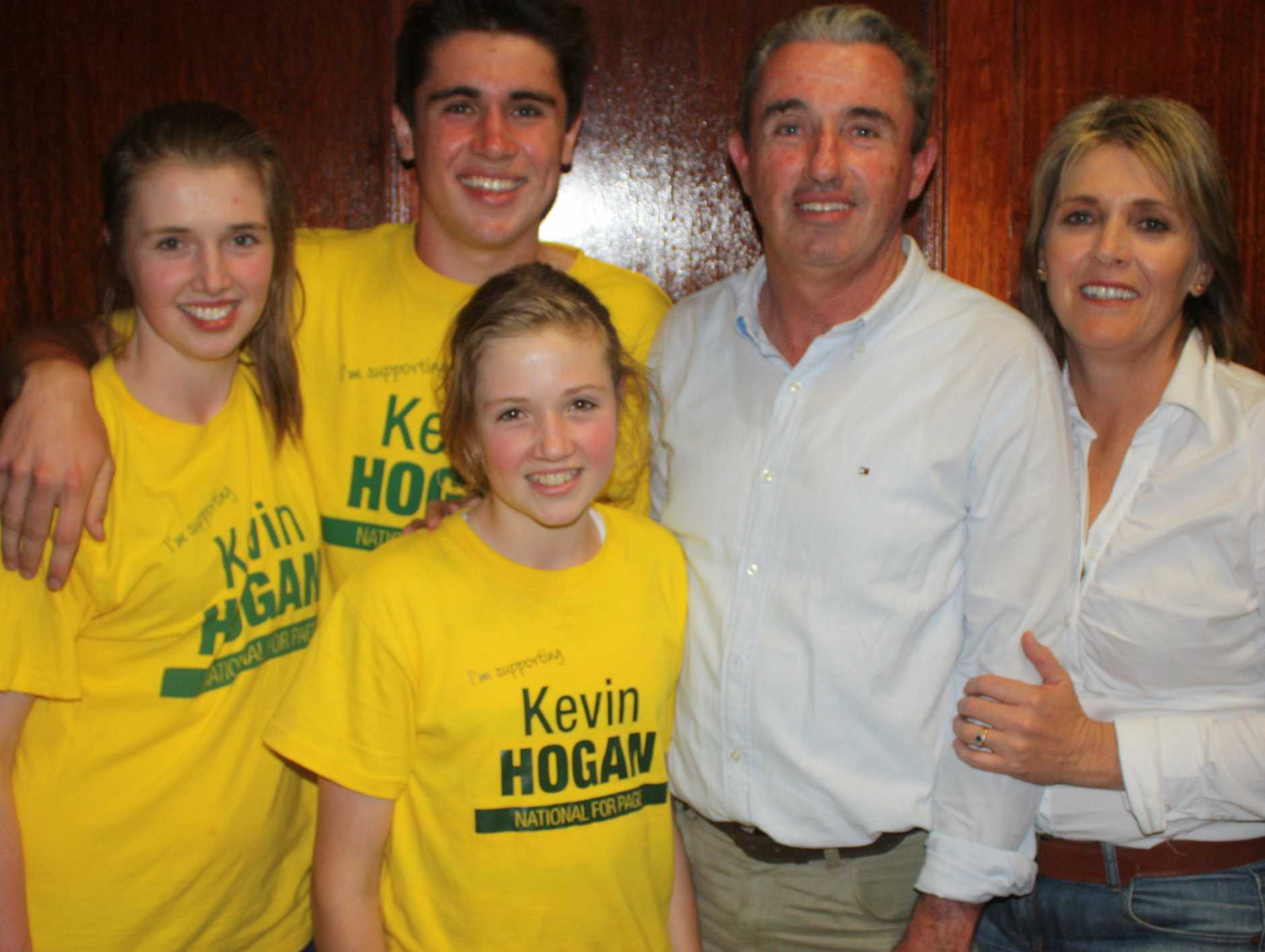 Kevin Hogan and his family celebrate his appointment to sitting member for the federal seat of Page.