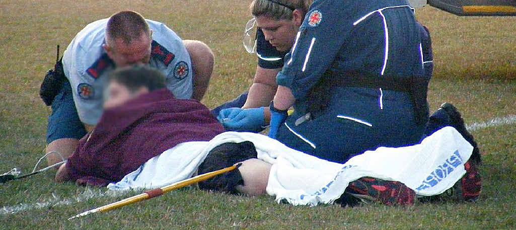 A Sunshine Coast teenager had his leg pierced by a javelin.