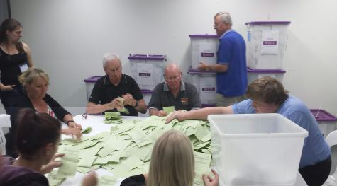Electoral commission staff hard at work at the tally room in Gladstone.