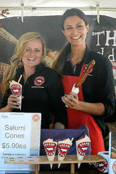 Rebecca McEwan and Monica Scalas of Salumi smallgoods at the Sample Food Festival, Bangalow.