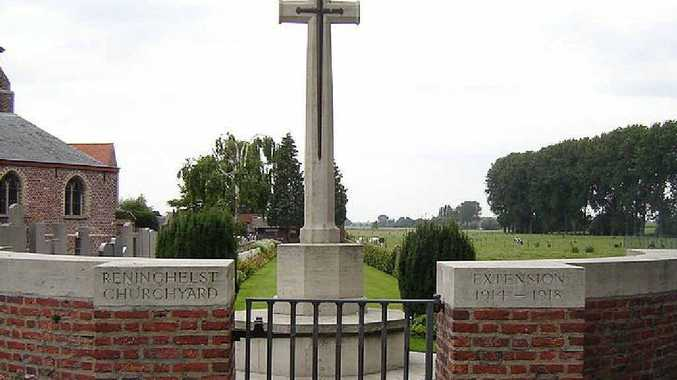 St Vedast Church, Reningelst and military cemetery next to the churchyard.