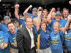 Mal Brough with his supporters last night.