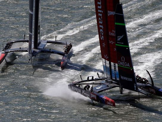 Emirates Team New Zealand skippered Dean Barker (R) and Oracle Team USA skippered James Spithill (L) in action during race one of the America's Cup Finals on September 7, 2013 in San Francisco, California.