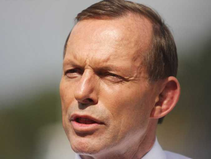 Opposition Leader Tony Abbott speaks to media at the CAboolture Netball Association. Photo Vicki Wood / Caboolture News