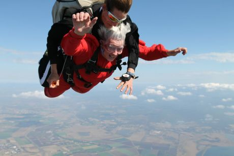Great grandmother June Kearsley jumping out of a plane for Motor Neurone Disease.