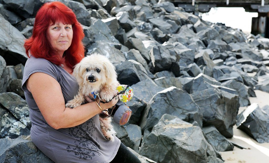 Rhonda Schloss has walked BJ along the Urangan Beach for 11 years and has witnessed the loss of foreshore. She is pleased to hear of the possible rock wall extension past the Urangan Pier.