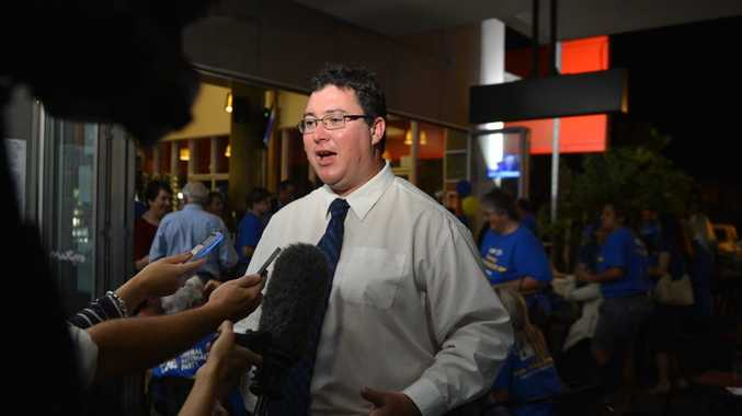 LNP Member for Dawson George Christensen speaks to the media as his supporters celebrate his win in the Federal Election.