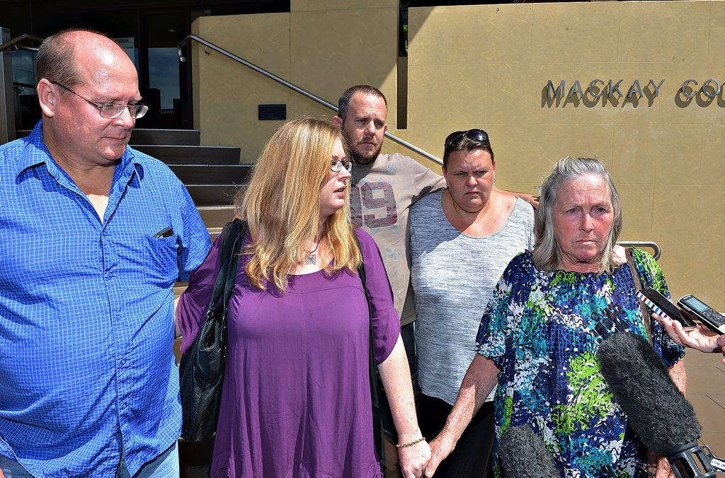 Back: Stuart Miller and Sheree Hardimon (Natasha's best friend) Front: Paul Shore (Natasha's father), Barbie Stott (aunty), Rachel McCarthy (grandmother) Natasha McCarthy's family and friends outside Mackay Court house just after her killer is sentenced to life in prison.