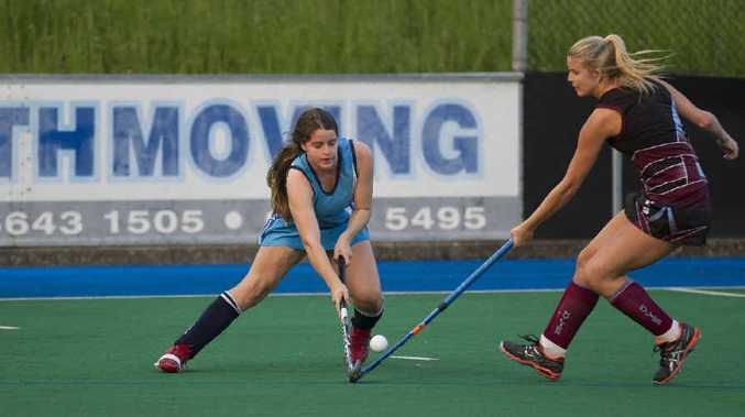 ON THE BALL: Justine Newman (GHS) and Shannon Whitton (Kylies) compete for the ball in last weekend's preliminary final.