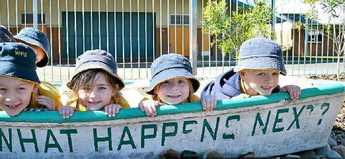 PEAK-A-BOO: Benson Trustum (6), Miah-Bella Norman (5), Isabella Ries-Fraser (5), Oscar Healy at the Woodburn preschool playspace opening.