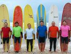 OLD GUYS RULE: Evans Head Longboard Classic 2011 Over-50s finalists Phil Roxburgh, Leon Wright, Chris Davies, Steve Jeffries, Mike Pimm and Michael Thompson.