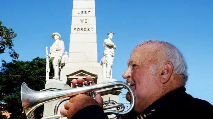 Bryce Whitaker plays The Last Post on Anzac Day this year.