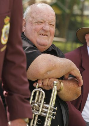 Bugler Bryce Whitaker at the Korean Day commemoration at the Maryborough Cenotaph in July.