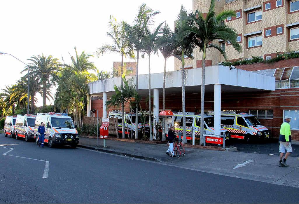 PEAK HOUR: Ambulances queue outside Lismore Base Hospital.