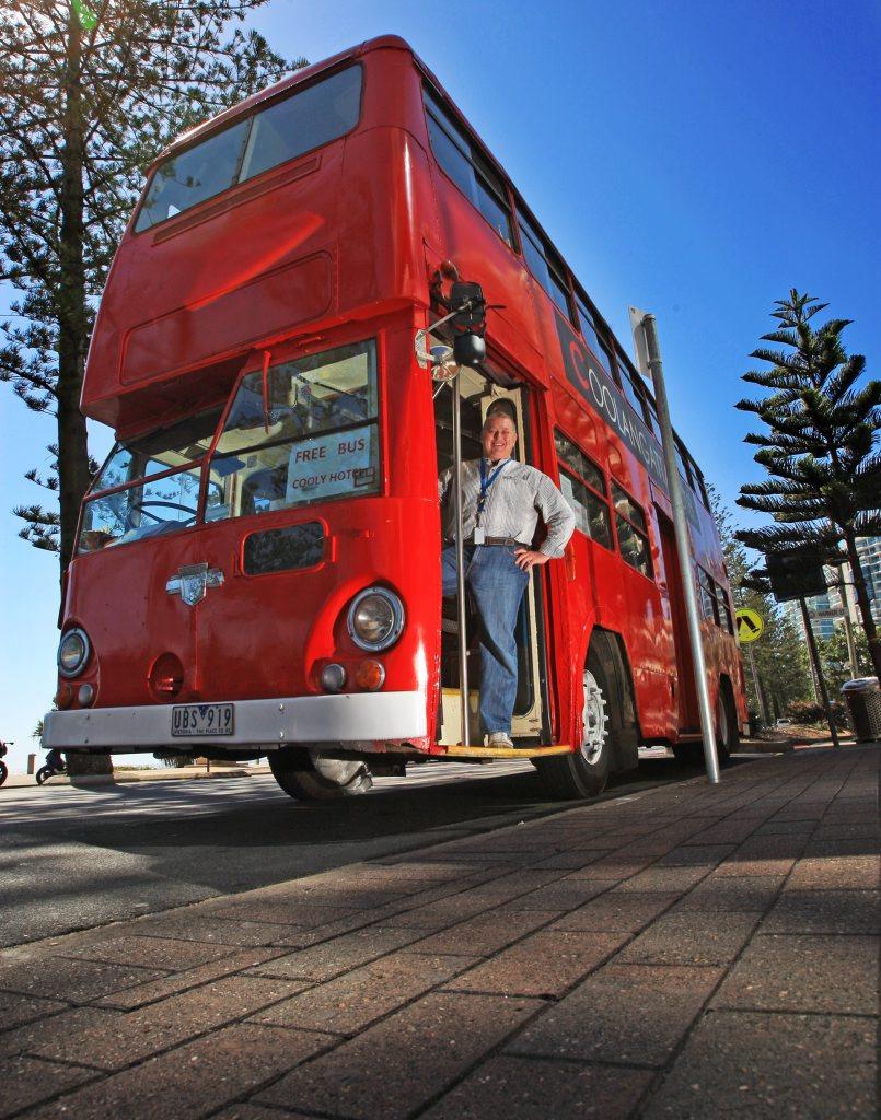 Warren Barber with Coolangatta Hotel's new bus.